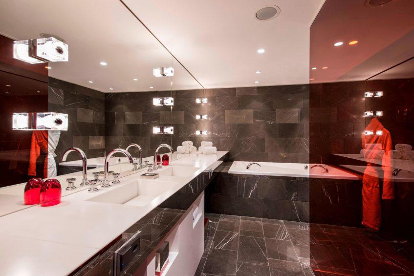 W Verbier Luxury Hotel - Verbier, Switzerland - WOW Suite Bathroom Vanity