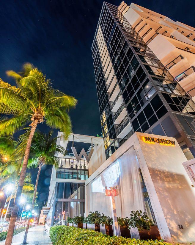 W South Beach Luxury Hotel - Miami Beach, FL, USA - Mr Chow Hotel Night View