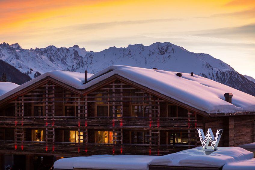 W Verbier Luxury Hotel - Verbier, Switzerland - Exterior Winter Sunset View