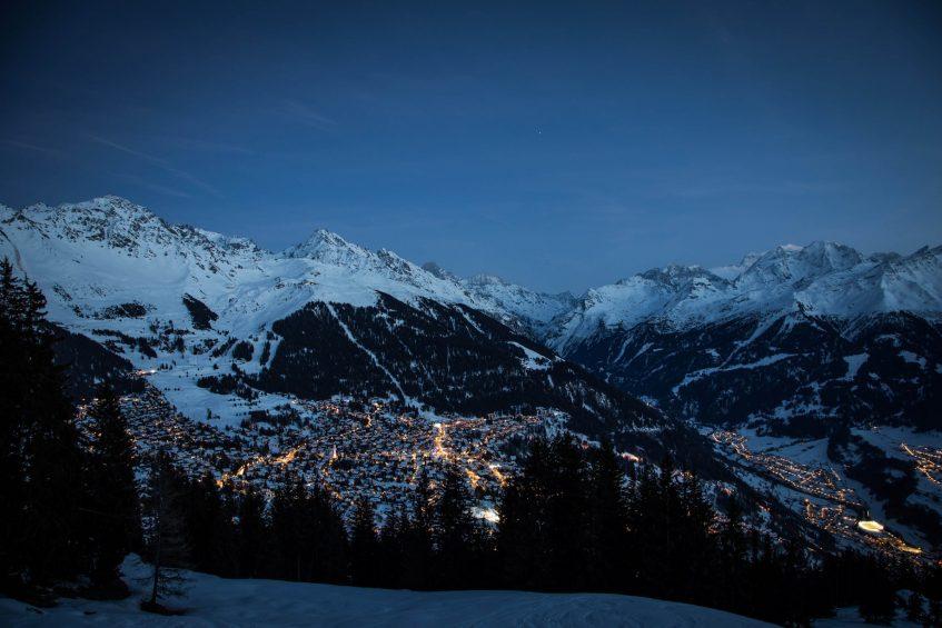 W Verbier Luxury Hotel - Verbier, Switzerland - Local Area Winter Aerial View Night