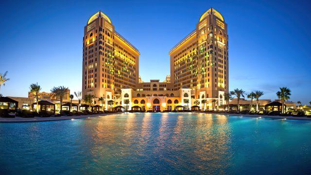 The St. Regis Doha Luxury Hotel - Doha, Qatar - Resort Night Pool View