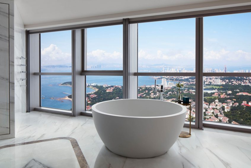 The St. Regis Qingdao Luxury Hotel - Qingdao, Shandong, China - Grand Deluxe Guest Bathroom Tub