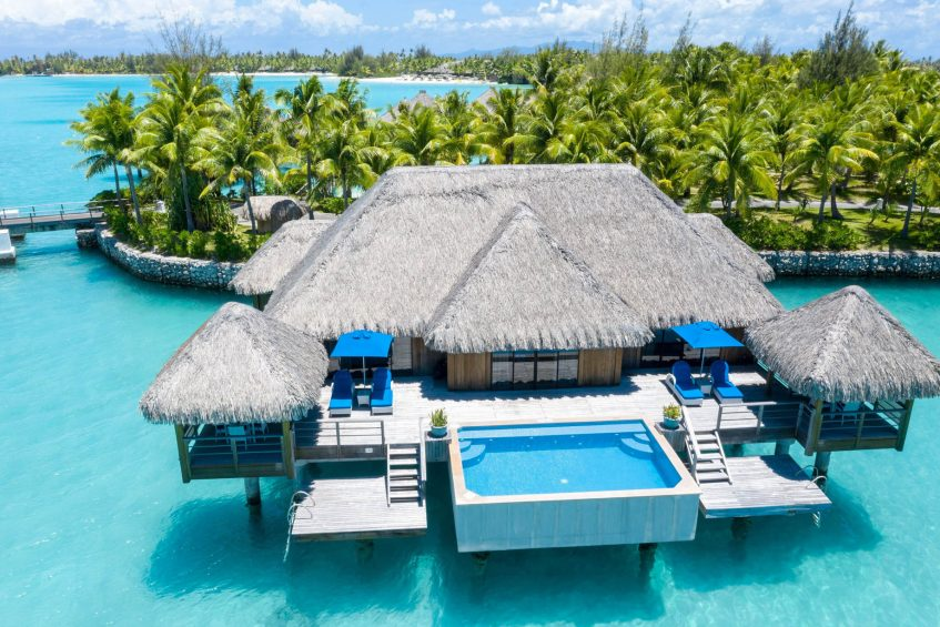 The St. Regis Bora Bora Resort - Bora Bora, French Polynesia - Two Bedrooms Overwater Royal Suite Villa Mt Otemanu View Aerial
