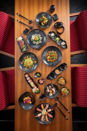 The St. Regis Bora Bora Resort - Bora Bora, French Polynesia - Bam Boo Restaurant Dinner Table Overhead View