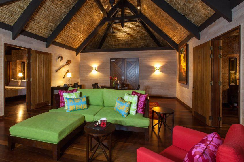 The St. Regis Bora Bora Resort - Bora Bora, French Polynesia - Reefside Royal Garden Two-Bedroom Villa with Pool Living Room Seating