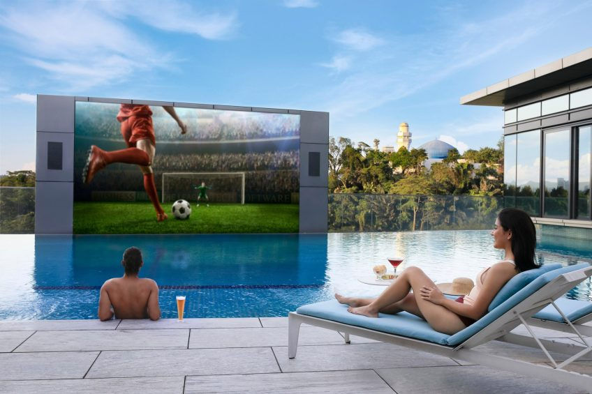 The St. Regis Kuala Lumpur Luxury Hotel - Kuala Lumpur, Malaysia - Outdoor Pool Movie Screen