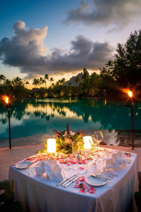 The St. Regis Bora Bora Resort - Bora Bora, French Polynesia - Candlelight Dinner on the Beach at Sunset