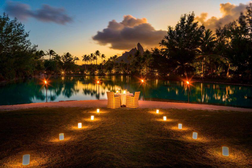 The St. Regis Bora Bora Resort - Bora Bora, French Polynesia - Candlelight Beach Dinner Sunset