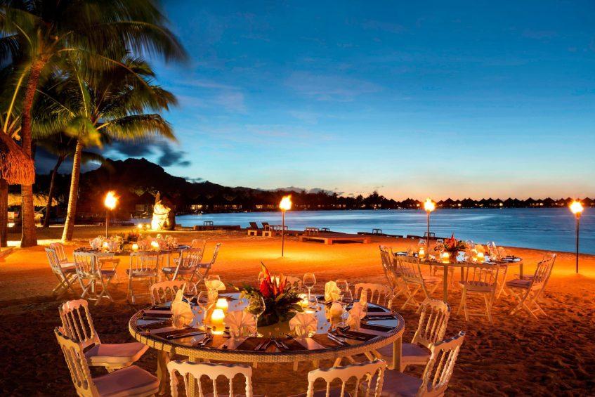 The St. Regis Bora Bora Resort - Bora Bora, French Polynesia - Dinner Tables on the Beach